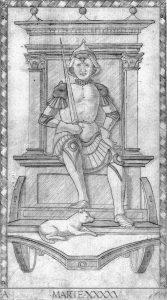 Carta de Marte en el Tarot de Mantegna.