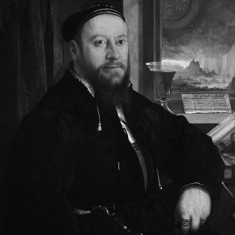 Christoph Amberger. Retrato de Matthäus Schwarz. 1542.