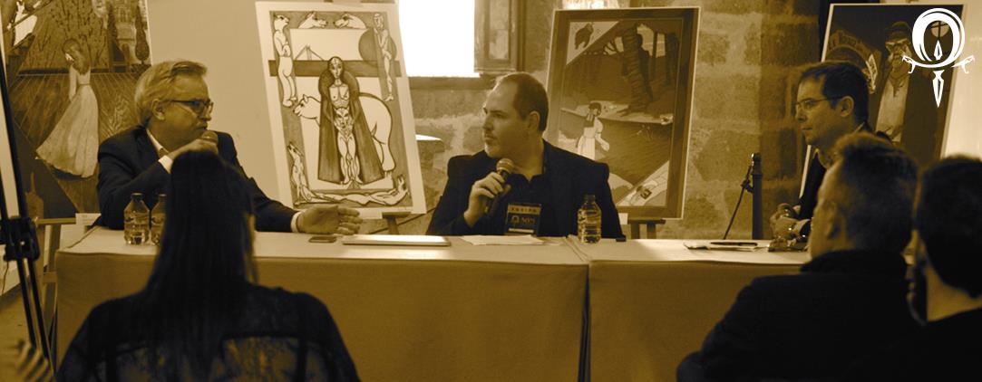 Javier Sierra, Guillermo Solana y Pedro Ortega en el Salón del Misterio.